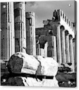 Mono Piles Of Stones Before Ruined Acrylic Print