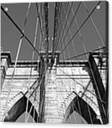 Monochromatic View Of Brooklyn Bridge Acrylic Print