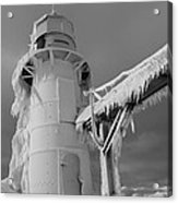 Monochrome Frozen Lighthouse Grand Haven Michigan Acrylic Print