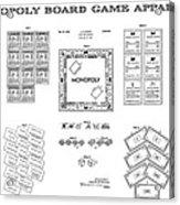 Monopoly Board Game Patent Art  1935 Acrylic Print by Daniel Hagerman