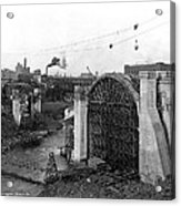 Monroe St Bridge Construction 1910 Acrylic Print by Daniel Hagerman