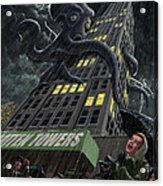 Monster Octopus Attacking Building In Storm Acrylic Print
