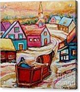 Mont St.hilaire Going Towards The Village Quebec Winter Landscape Paintings Carole Spandau Acrylic Print