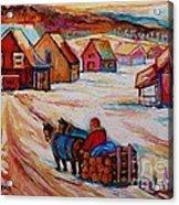 Mont St.hilaire Winter Scene Logger Heading Home To Quebec Village Winter Landscape Carole Spandau Acrylic Print