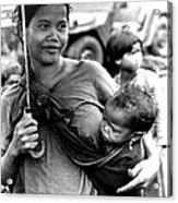 Montagnard Woman With Umbrella And Child Acrylic Print