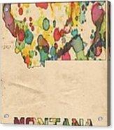 Montana Map Vintage Watercolor Acrylic Print