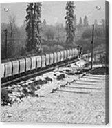 Montana Train Acrylic Print by Paul Bartoszek