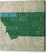Montana Word Art State Map On Canvas Acrylic Print