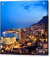 Monte Carlo Cityscape At Night Acrylic Print