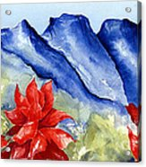 Monterrey Mountains With Red Floral Acrylic Print