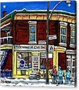 Montreal Art Hockey Paintings Chez Bert Depanneur The Pointe Verdun City Scene Carole Spandau  Acrylic Print
