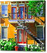 Montreal Art Seeing Red Verdun Wooden Doors And Fire Hydrant Triplex City Scene Carole Spandau Acrylic Print