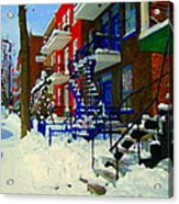 Montreal Art Streets Of Verdun Winter Scenes Winding Staircases Snowscenes Carole Spandau Acrylic Print