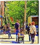 Montreal Art Summer Cafe Scene Rue Laurier Family Day Wagon Ride City Scene Art By Carole Spandau Acrylic Print