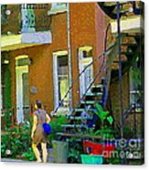 Montreal Art Summer Stroll By Blue Winding Staircase Verdun Homes Balcony Scene Carole Spandau Acrylic Print