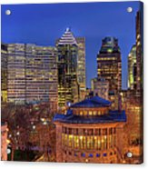 Montreal Downtown At Dusk Hdr II Acrylic Print