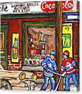 Montreal Hockey Paintings At The Corner Depanneur - Piche's Grocery Goosevillage Psc Griffintown  Acrylic Print