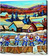 Montreal Memories Rink Hockey In The Country Hockey Our National Pastime Carole Spandau Paintings Acrylic Print