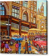 Montreal Memories-streetcars-morgan's Department Store At St.catherine And Union Acrylic Print