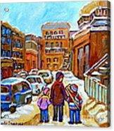 Montreal Paintings Winter Walk Past The Old School Snowy Day City Scene Carole Spandau Acrylic Print