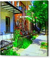 Montreal Stairs Shady Streets Winding Staircases In Balconville Art Of Verdun Scenes Carole Spandau Acrylic Print
