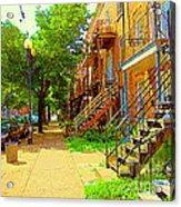 Montreal Stairs Winding Staircases And Sunny Tree Lined Sidewalks Verdun Scenes Carole Spandau  Acrylic Print