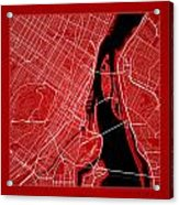 Montreal Street Map - Montreal Canada Road Map Art On Color Acrylic Print