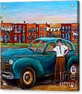 Montreal Taxi Driver 1940 Cab Vintage Car Montreal Memories Row Houses City Scenes Carole Spandau Acrylic Print