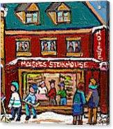 Montreal Winter Hockey At Moishes Acrylic Print