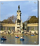 Monument And Lake In Retiro Park In Madrid Acrylic Print