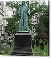 Monument John Watts Trinity Churchyard New York Acrylic Print