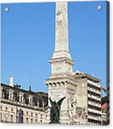 Monument On Restauradores Square In Lisbon Acrylic Print