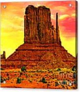 Monument Valley Right Mitten Sunrise Painting Acrylic Print