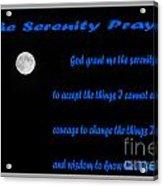 Moon - Serenity Prayer - Blue Acrylic Print