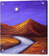 Moon And Cygnus Acrylic Print by Janet Greer Sammons