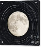 Moon And Startrails Acrylic Print