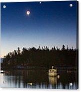 Moon And Venus Over Five Islands Acrylic Print by Benjamin Williamson