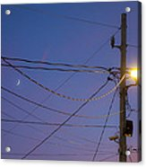 Moon And Wires Acrylic Print