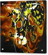 Moon Bath With Burning Skull Acrylic Print