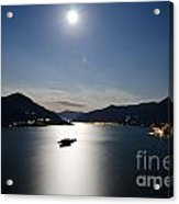 Moon Light Reflected Over An Alpine Lake Acrylic Print