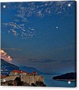 Moon Over Dubrovnik's Walls Acrylic Print