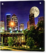 Moon Over Houston Acrylic Print by Lester Phipps