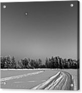 Moon Over Ice Road Acrylic Print