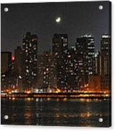 Moon Over Manhattan Acrylic Print