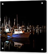 Moon Over Marina 1 - Sheepshead Bay Brooklyn New York Acrylic Print