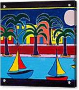 Moon Over Miami Acrylic Print by Marlene MALKA Harris