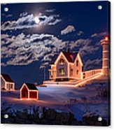 Moon Over Nubble Acrylic Print by Michael Blanchette