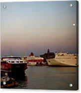 Moon Over Piraeus Port Acrylic Print