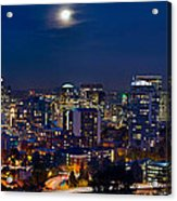 Moon Over Portland Oregon City Skyline At Blue Hour Acrylic Print