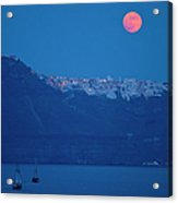 Moon Over Santorini Acrylic Print by Brian Jannsen